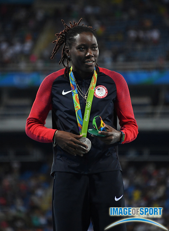 Aug 18, 2016; Rio de Janeiro, Brazil; Brittney Reese (USA) poses with the silver medal after placing second in the women's long jump during the 2016 Rio Olympics at Estadio Olimpico Joao Havelange.