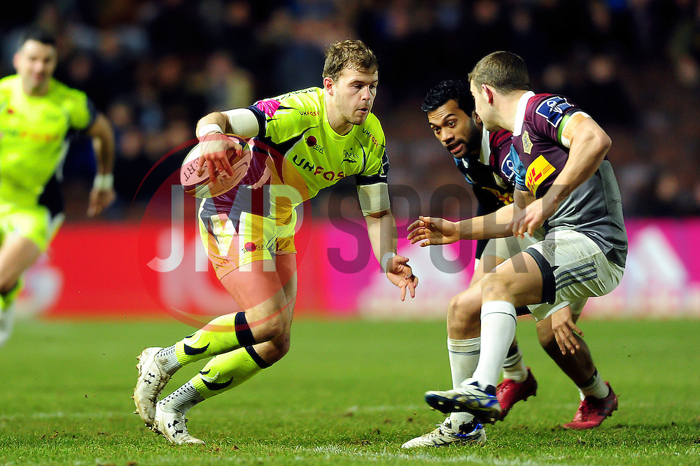 Will Addison of Sale Sharks in possession - Mandatory byline: Patrick Khachfe/JMP - 07966 386802 - 03/02/2017 - RUGBY UNION - The Twickenham Stoop - London, England - Harlequins v Sale Sharks - Anglo-Welsh Cup.
