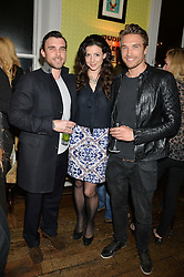 Left to right, CHARLIE WATSON, SHIRLEY LEIGH WOOD-OAKES and GILLES SOUTEYRAND at a party to celebrate the publication of 'Honestly Healthy For Life' by Natasha Corrett held at Bumpkin, 209 Westbourne Park Road, London on 26th March 2014.