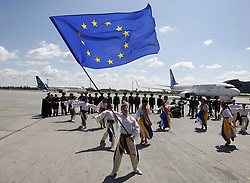June 11, 2017 - Kiev, Ukraine - A troupe of Ukrainian dancers perform at the International airport 'Boryspil' near Kiev, Ukraine, on 11 June 2017.  Ukrainians celebrates the first day of visa-free access to the European Union on 11 June. (Credit Image: © Serg Glovny via ZUMA Wire)