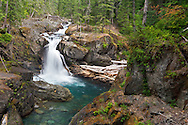 Silver Falls on the Ohanapecosh River at Mount Rainier National Park in Washington State, USA.