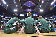 April 4, 2016; Indianapolis, Ind.; The UAA women's basketball team warms up before the NCAA Division II Women's Basketball National Championship game at Bankers Life Fieldhouse between UAA and Lubbock Christian.