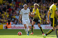 Jonjo Shelvey of Swansea City blocks Alessandro Diamanti of Watford. Barclays Premier League, Watford v Swansea city at Vicarage Road in London on Saturday 12th September 2015.<br /> pic by John Patrick Fletcher, Andrew Orchard sports photography.