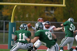 22 October 2005: Thunder QB Jeremy Chupp stands frimly the pocket ready to deliver the ball down field. The Illinois Wesleyan Titans posted a 23 - 14 home win by squeeking past the Thunder of Wheaton College at Wilder Field (the 5th oldest collegiate field in the US) on the campus of Illinois Wesleyan University in Bloomington IL