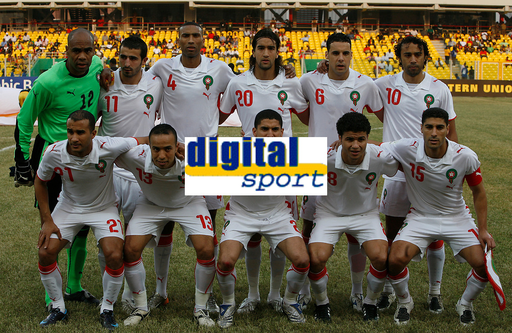Photo: Steve Bond/Richard Lane Photography.<br />Guinea v Morocco. Africa Cup of Nations. 24/01/2008. Morocco line up