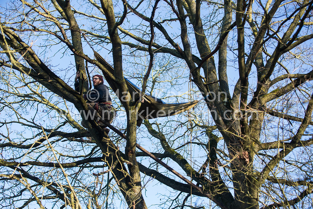 Harefield, UK. 20 January, 2020. An activist prepares a hammock high in a tree at the Colne Valley wildlife protection camp. Extinction Rebellion, Stop HS2 and Save the Colne Valley had reoccupied the camp two days before as part of an ongoing attempt to protect ancient woodland threatened by the HS2 high-speed rail link after a small group of Stop HS2 activists had been evicted by bailiffs over the course of the previous two weeks. 108 ancient woodlands are set to be destroyed by the high-speed rail link. Credit: Mark Kerrison/Alamy Live News