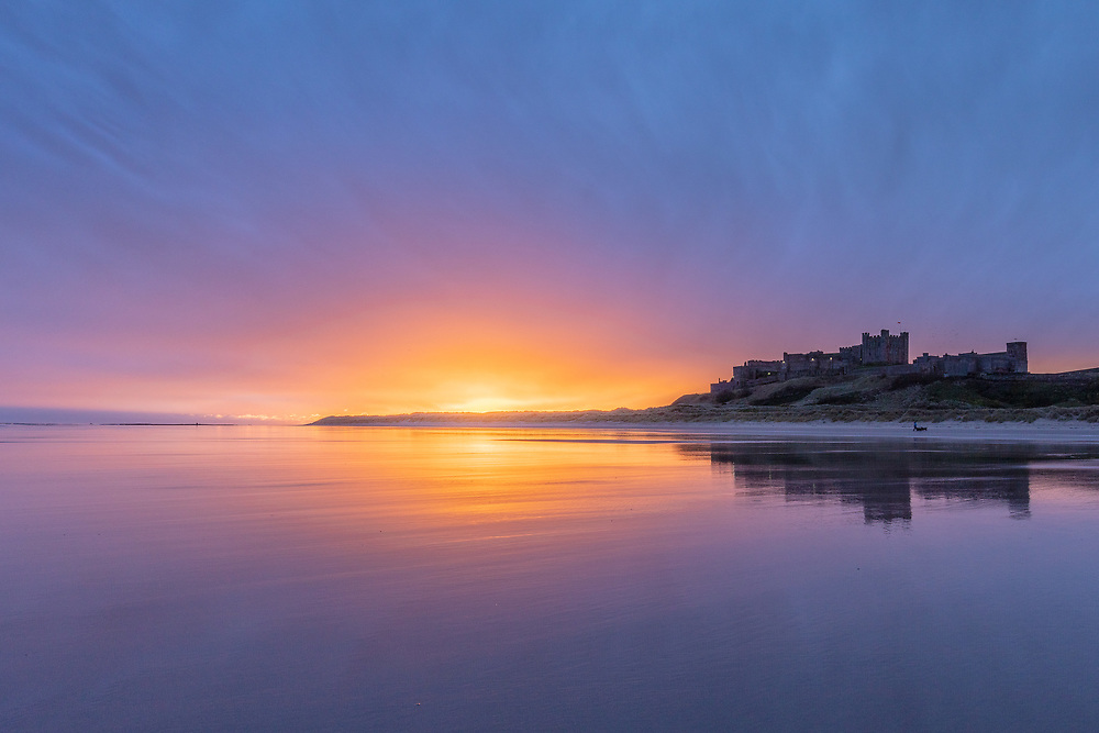 First light at Bamburgh Castle, Northumbria.