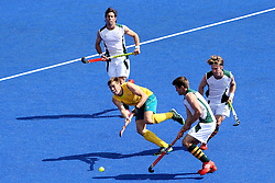 Edward Ockenden of Australia attacks during the men's Hockey match between Australia and South Africa held at the Riverbank Stadium in the Olympic Park in London as part of the London 2012 Olympics on the 30th July 2012.Photo by Ron Gaunt/SPORTZPICS