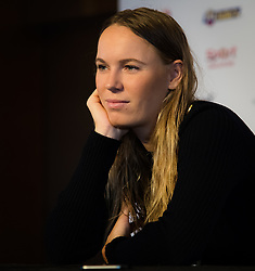 October 20, 2018 - Kallang, SINGAPORE - Caroline Wozniacki of Denmark talks to the media during the All Access Hour of the 2018 WTA Finals tennis tournament (Credit Image: © AFP7 via ZUMA Wire)