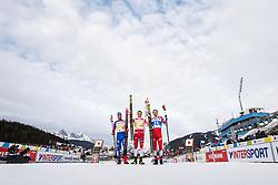 February 21, 2019 - Seefeld In Tirol, AUSTRIA - 190221 Federico Pellegrino of Italy, Johannes HÂ¿sflot Kl¾bo of Norway and Gleb Retivykh of Russia celebrate after competing in men's cross-country skiing sprint final during the FIS Nordic World Ski Championships on February 21, 2019 in Seefeld in Tirol..Photo: Joel Marklund / BILDBYRN / kod JM / 87880 (Credit Image: © Joel Marklund/Bildbyran via ZUMA Press)