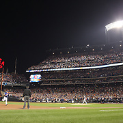 Travis d'Arnaud, New York Mets, rounds the bases after hitting a two run home run during the New York Mets Vs Los Angeles Dodgers, game three of the NL Division Series at Citi Field, Queens, New York. USA. 12th October 2015. Photo Tim Clayton for The Players Tribune