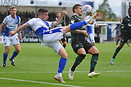 Michael Kelly (28) of Bristol Rovers clear the ball from Antoni Sarcevic (7) of Plymouth Argyle during the EFL Sky Bet League 1 match between Bristol Rovers and Plymouth Argyle at the Memorial Stadium, Bristol, England on 8 September 2018.