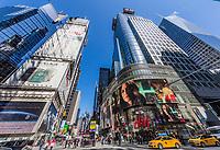 NEW YORK CITY- MARCH 23, 2018 : Broadway one of the main Manhattan Landmarks