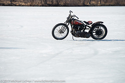 Ice racing on Lake Sinissippi on an unseasonably warm day after the Mama Tried Bike Show. Milwaukee, WI, USA. Sunday February 19, 2017. Photography ©2017 Michael Lichter.