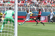 Real Madrid Forward Karim Benzema shoots at goal during the AON Tour 2017 match between Real Madrid and Manchester United at the Levi's Stadium, Santa Clara, USA on 23 July 2017.