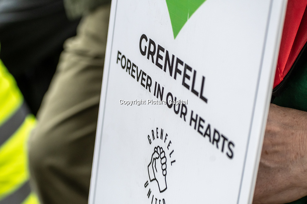 Hundreds attend Justice 4Grenfell - 2nd anniversary of the atrocity of the Grenfell Tower fire. No deaths should be in vain! Where is the change, where is the justice? March, assembly outside Down Street march to the Home Offical, on 15 June 2019, London, UK.