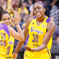03 August 2014: Los Angeles Sparks forward Nneka Ogwumike (30) celebrates with Los Angeles Sparks guard Lindsey Harding (10) and Los Angeles Sparks guard Kristi Toliver (20) during the Los Angeles Sparks 70-69 victory over the Connecticut Sun, at the Staples Center, Los Angeles, California, USA.