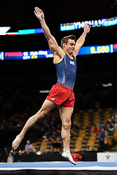 August 18, 2018 - Boston, Massachussetts, U.S - SAM MIKULAK competes on the floor exercise during the final round of competition held at TD Garden in Boston, Massachusetts. (Credit Image: © Amy Sanderson via ZUMA Wire)