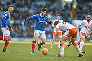 Portsmouth Forward, Conor Chaplin (19) runs at the Blackpool defence during the EFL Sky Bet League 1 match between Portsmouth and Blackpool at Fratton Park, Portsmouth, England on 24 February 2018. Picture by Adam Rivers.