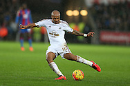 Andre Ayew of Swansea city in action.Barclays Premier league match, Swansea city v Crystal Palace at the Liberty Stadium in Swansea, South Wales on Saturday 6th February 2016.<br /> pic by Andrew Orchard, Andrew Orchard sports photography.