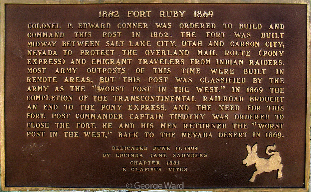 Commemorative Plaque for Fort Ruby,Ruby Lake National Wildlife Refuge, Elko County, Nevada