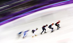 France's Thibaut Fauconnet (centre) in The Men's 1500m Short Track heats during day one of the PyeongChang 2018 Winter Olympic Games in South Korea. PRESS ASSOCIATION Photo. Picture date: Saturday February 10, 2018. See PA story OLYMPICS Short Track. Photo credit should read: David Davies/PA Wire. RESTRICTIONS: Editorial use only. No commercial use.
