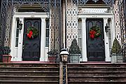 Christmas wreaths on a historic home in Pulaski Square in Savannah, GA.