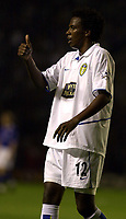 Photo: Greig Cowie.<br /> 15/09/2003.<br /> Barclaycard Premiership. Leicester City v Leeds United, The Walkers Stadium.<br /> Roque Junior gives it the thumbs up, but on the first half performance it should have been turned the other way