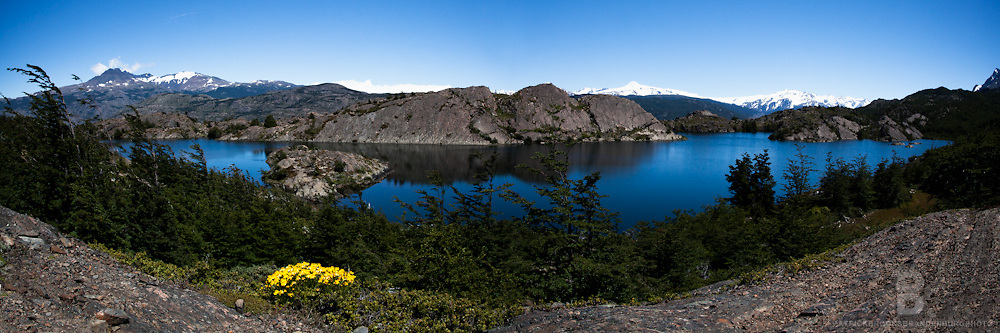 A double image panoramic of Laguna Los Pasos along the W trek in Torres del Paine Patagonia, Chile.