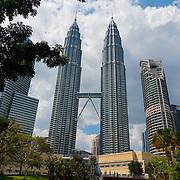 KLCC Park Lake With Whale Sculpture And Petronas Towers, Kuala Lumpur, Malaysia