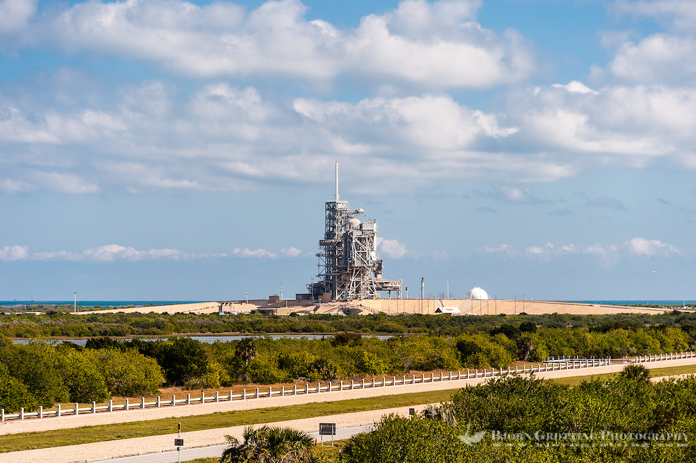 US, Florida. John F. Kennedy Space Center. View from Observation Gantry. Launch Pad 39A.