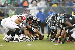 Philadelphia Eagles and Atlanta Falcons on the line of scrimmage during the NFL game between the Atlanta Falcons and the Philadelphia Eagles on Sunday, October 28th 2012 in Philadelphia. The Falcons won 30-17. (Photo by Brian Garfinkel)