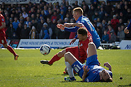 Matty Dixon of York City FC (23) during  the Sky Bet League 2 match between Hartlepool United and York City at Victoria Park, Hartlepool, England on 16 April 2016. Photo by George Ledger.