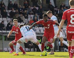 Raphael Onyedika Nwadike (FC Fredericia) under kampen i 1. Division mellem FC Fredericia og FC Helsingør den 4. oktober 2020 på Monjasa Park i Fredericia (Foto: Claus Birch).
