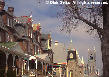 County Seat, Row Houses, Churches, Norristown, Montgomery Co., PA