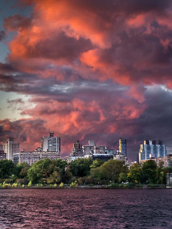 Sunset over Reservoir, Upper West Side, Manhattan, NYC