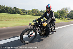 Doug Wothke of Alabama, an experienced long distance rider who has ridden a 1948 Indian Chief around the world as well as a 1962 Panhead chopper around the world, here riding his 1916 Indian during the Motorcycle Cannonball Race of the Century. Stage-6 from Cape Girardeau, MO to Springfield, MO. USA. Thursday September 15, 2016. Photography ©2016 Michael Lichter.