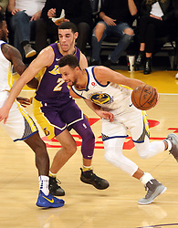November 29, 2017 - Los Angeles, California, U.S - Stephen Curry #30 of the Golden State Warriors drives past Lonzo Ball #2 of the Los Angeles Lakers during their game on Wednesday November 29, 2017 at the Staples Center in Los Angeles, California. Lakers lose to Warriors, 127-123. (Credit Image: © Prensa Internacional via ZUMA Wire)