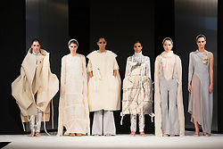 """© Licensed to London News Pictures. 02/06/2015. London, UK. Collection by Elizabeth Kamaris, Birmingham City University. Runway show """"Best of Graduate Fashion Week 2015"""". Graduate Fashion Week takes place from 30 May to 2 June 2015 at the Old Truman Brewery, Brick Lane. Photo credit : Bettina Strenske/LNP"""