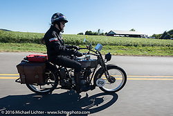 Cris Sommer Simmons of Hawaii riding her 1915 Harley-Davidson during the Motorcycle Cannonball Race of the Century. Stage-3 from Morgantown, WV to Chillicothe, OH. USA. Monday September 12, 2016. Photography ©2016 Michael Lichter.