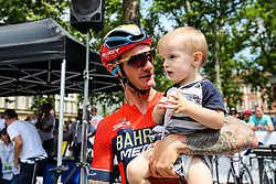 Grega Bole (SLO) of Bahrain - Merida with kid during 1st Stage of 26th Tour of Slovenia 2019 cycling race between Ljubljana and Rogaska Slatina (171 km), on June 19, 2019 in  Slovenia. Photo by Matic Klansek Velej / Sportida