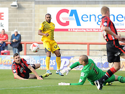 Barry Roche of Morecambe saves from Jermaine Easter of Bristol Rovers - Mandatory byline: Neil Brookman/JMP - 07966 386802 - 03/10/2015 - FOOTBALL - Globe Arena - Morecambe, England - Morecambe FC v Bristol Rovers - Sky Bet League Two