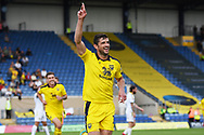 John Mousinho (15) of Oxford United scores a goal 1-0 and celebrates during the EFL Sky Bet League 1 match between Oxford United and Burton Albion at the Kassam Stadium, Oxford, England on 25 August 2018.