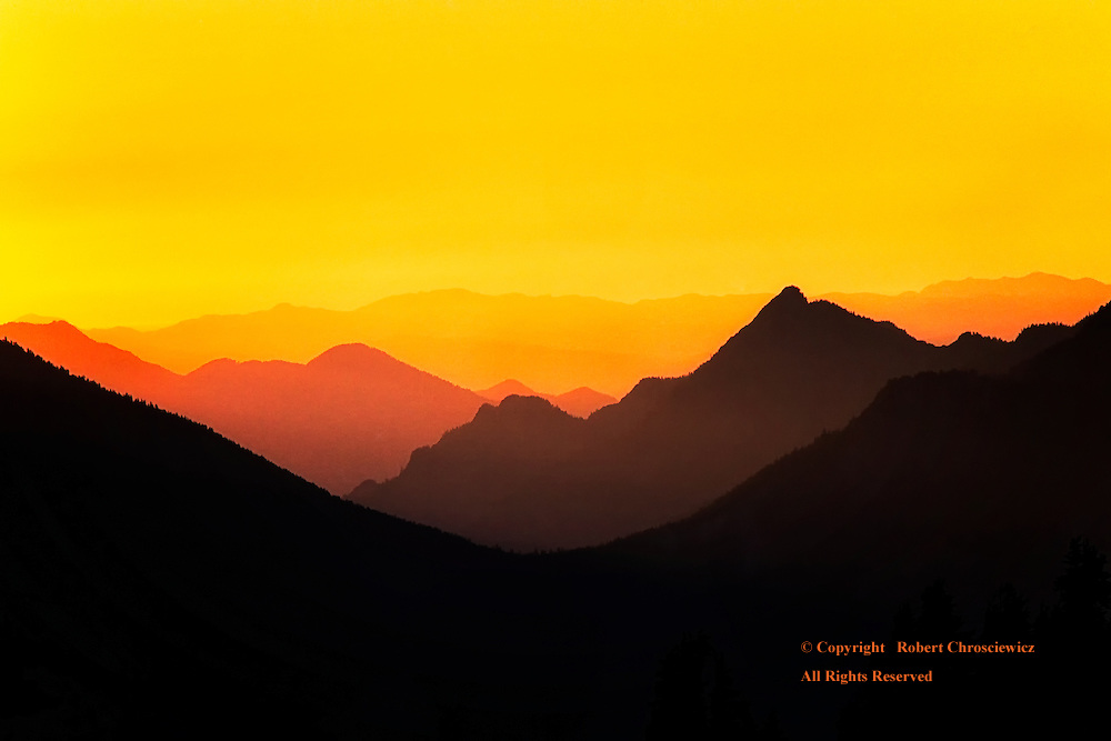 Hurricane Ridge Gold: The mountains of Olympic National Park at sunset through the golden, smoky haze of a forest fire, seen from Hurricane Ridge, Washington United States of America.