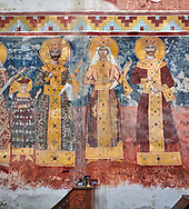 Pictures & images of the Byzantine fresco panels on the north wall of the Gelati Georgian Orthodox Church of the Virgin, 1106, depicting scenes from left to right: Prince Bagrat, King George II, Queen Helen, King Bagrat III of Imereti.  The medieval Gelati monastic complex near Kutaisi in the Imereti region of western Georgia (country). A UNESCO World Heritage Site. .<br /> <br /> Visit our MEDIEVAL PHOTO COLLECTIONS for more   photos  to download or buy as prints https://funkystock.photoshelter.com/gallery-collection/Medieval-Middle-Ages-Historic-Places-Arcaeological-Sites-Pictures-Images-of/C0000B5ZA54_WD0s<br /> <br /> Visit our REPUBLIC of GEORGIA HISTORIC PLACES PHOTO COLLECTIONS for more photos to browse, download or buy as wall art prints https://funkystock.photoshelter.com/gallery-collection/Pictures-Images-of-Georgia-Country-Historic-Landmark-Places-Museum-Antiquities/C0000c1oD9eVkh9c