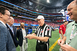 Chick-fil-A Peach Bowl CEO and President, Gary Stokan and VIP's prior to the Chick-fil-A Kickoff Game between the Duke Blue Devils and the Alabama Crimson Tide at the Mercedes-Benz Stadium, Saturday, August 31, 2019, in Atlanta. (Paul Abell via Abell Images for Chick-fil-A Kickoff)