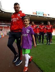 A young mascot meets the Bristol City players at Sunderland - Mandatory by-line: Robbie Stephenson/JMP - 28/10/2017 - FOOTBALL - Stadium of Light - Sunderland, England - Sunderland v Bristol City - Sky Bet Championship