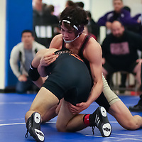 Robert Piearcy (top)  of Cupertino in the 2018 CCS Wrestling Championships (Photo by Bill Gerth)