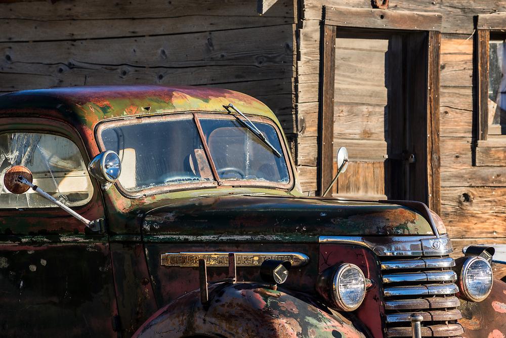Old truck in historic Old Molson, Washington.