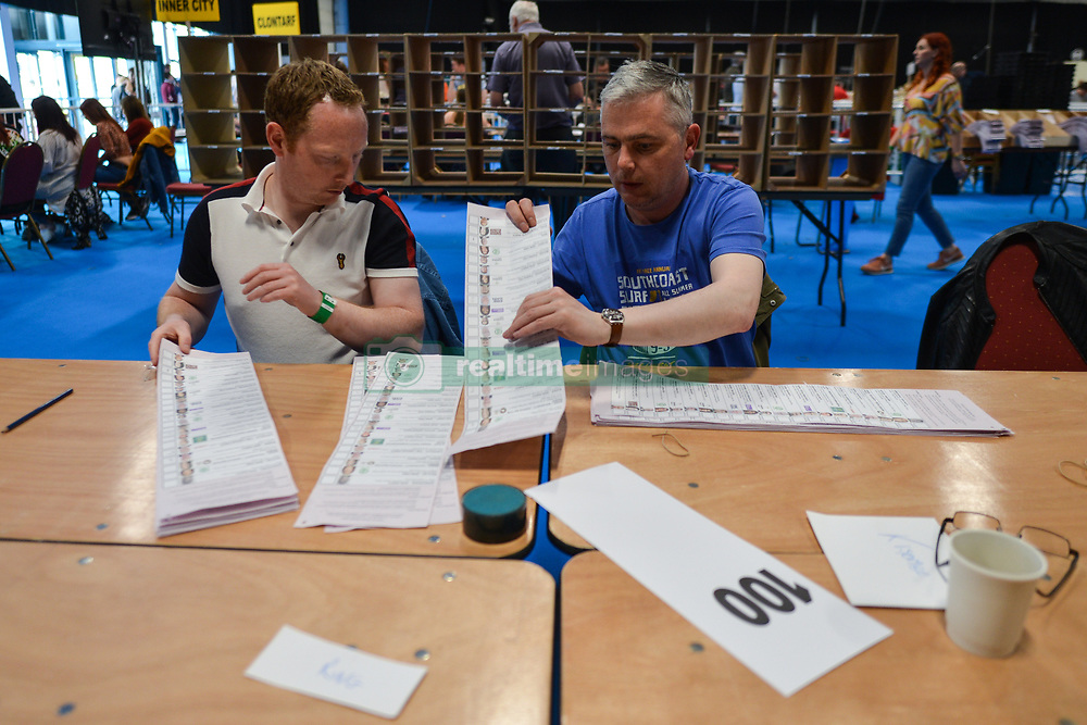 May 25, 2019, Dublin, Ireland: Ballots are counted in the European Parliament elections and the referendum on Ireland's divorce laws at the RDS in Dublin. The constitution currently states that spouses must be separated for four of the previous five years to divorce. But that clause will now be removed, allowing the Oireachtas (Irish parliament) to decide a new separation period before divorce is allowed. Divorce was legalized in Ireland in 1995. (Credit Image: © Artur Widak/NurPhoto via ZUMA Press)